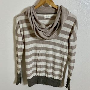 If It Were Me Striped Cowl Neck Sweater, M